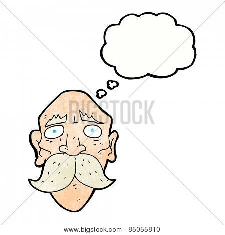 cartoon sad old man with thought bubble