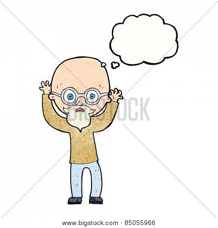 cartoon stressed bald man with thought bubble