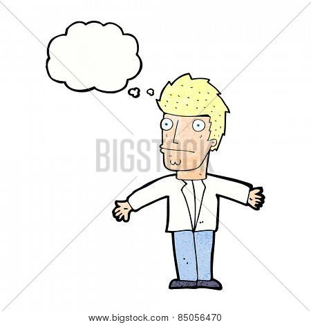 cartoon confused man with thought bubble