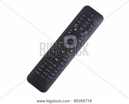 Black Remote Controller On White Background