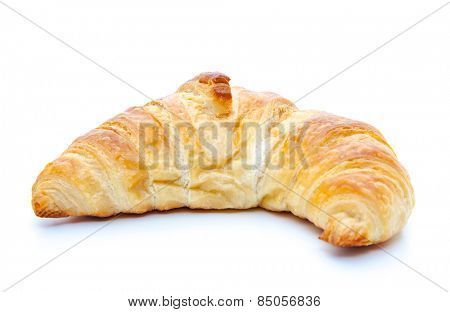 Freshly baked croissant. All on white background