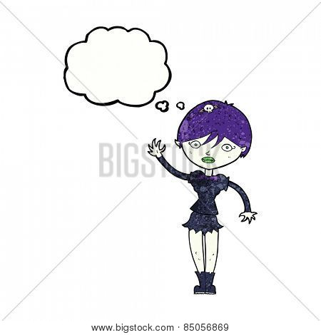 cartoon vampire girl waving with thought bubble