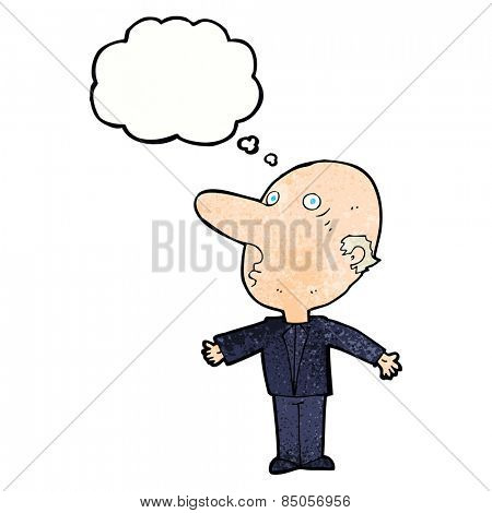 cartoon confused middle aged man with thought bubble