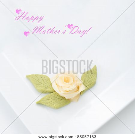 Happy Mother's Day Concept With White Rose Flower Made With Green Wasabi And Marinated Ginger On A W