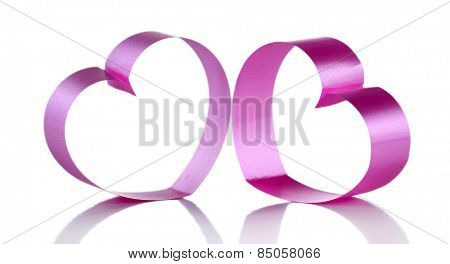 Pink paper hearts isolated on white