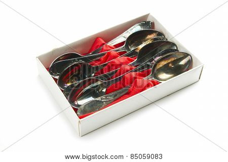 Old Group Of Teaspoons In Box