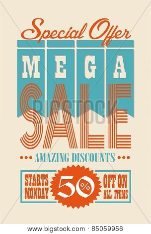 Sale Poster Vector Retro Design