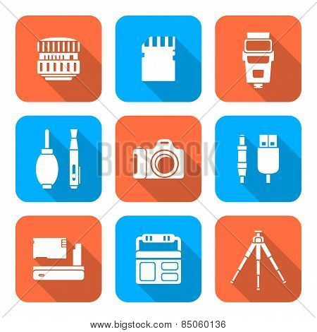 White Color Flat Style Square Digital Photography Tools Icons