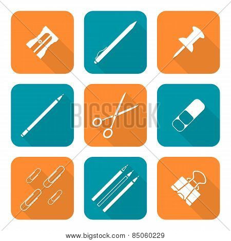 White Color Flat Style Various Stationery Icons Set