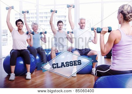 The word classes and fitness class with dumbbells sitting on exercise balls against badge