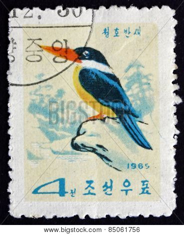 Postage Stamp North Korea 1965 Black-caped Kingfisher, Bird