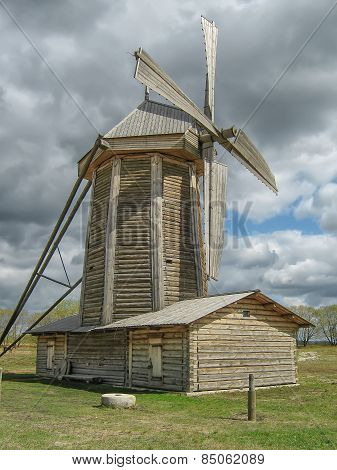 The old wooden windmill