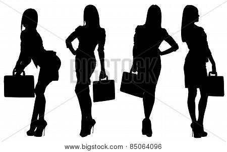 Vector images silhouettes of sexy girls