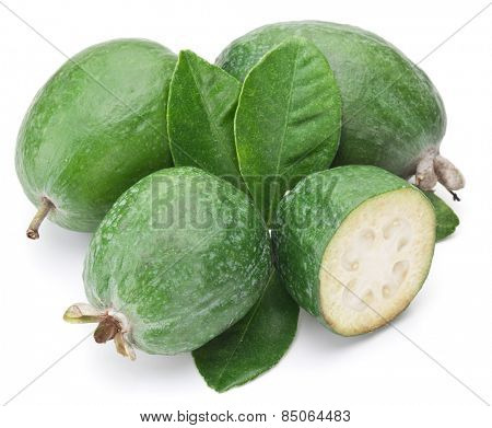 Feijoa with leaves on a white background.