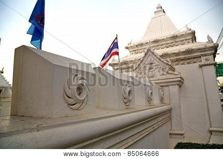 Pavement Flag   In   Bangkok  Thailand Incision Of The Temple