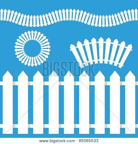 An image of a wooden white picket fence icon set.