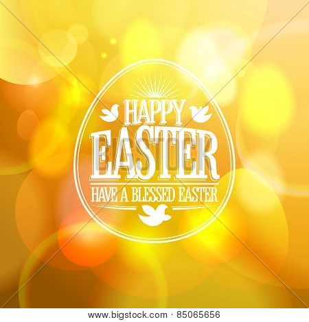 Happy Easter calligraphic design on a gold bokeh lights background.