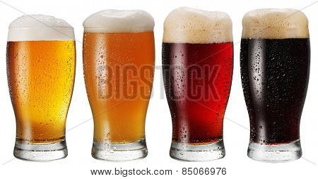 Glasses of beer on white background.File contains clipping paths.