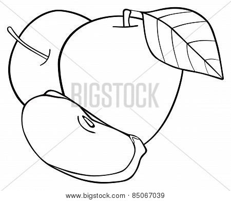 Delightful Garden - Set Of Two Apples With A Slice And A Leaf