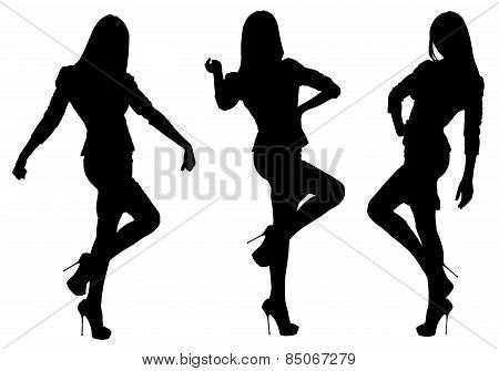 Vector silhouettes of girls in three positions