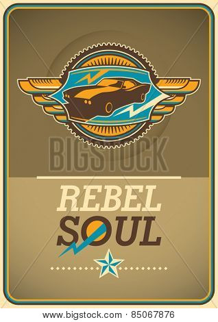 Retro lifestyle poster with emblem. Vector illustration.