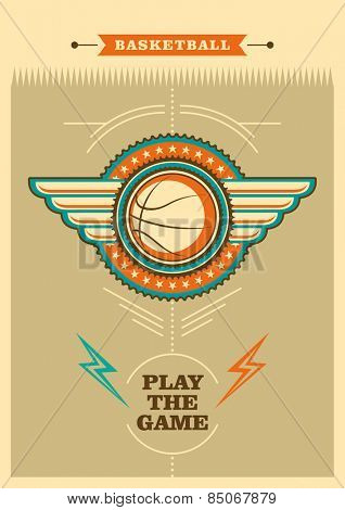 Retro basketball poster with coat of arms. Vector illustration.