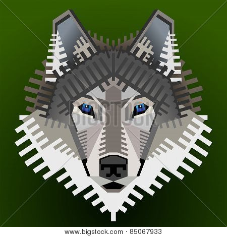 Geometric Wolf's Face