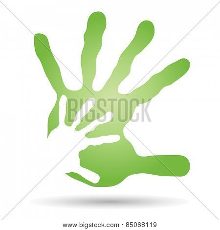 Concept or conceptual human or mother and child hand prints painted isolated on white background for art, care, childhood, family, fun, happy, infant, symbol, kid,  love, mom, motherhood or young
