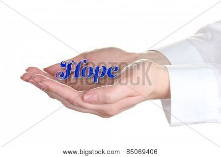 Female hands with word Hope isolated on white