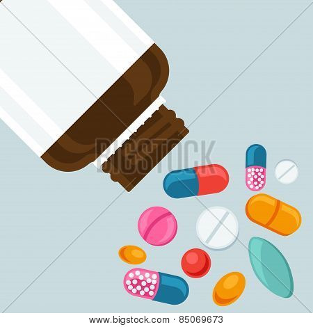 Pill bottle with various pills and capsules