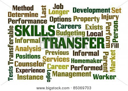 Skills Transfer word cloud on white background
