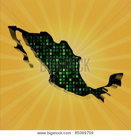 Mexico sunburst map with hex code illustration