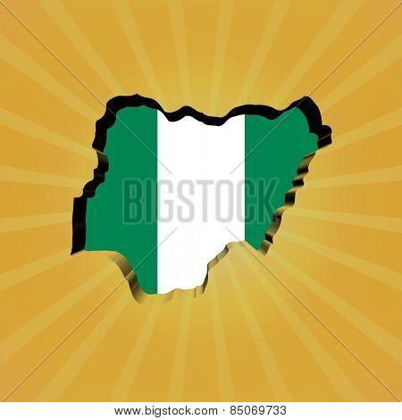 Nigeria sunburst map with flag illustration