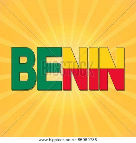 Benin flag text with sunburst illustration
