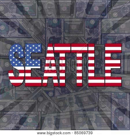 Seattle flag text on dollars sunburst illustration