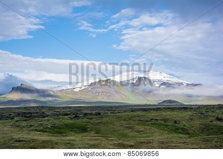 Volcano Snaefell On The Western End Of Icelandic Peninsula