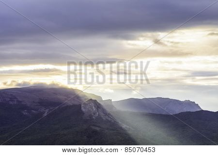Dramatic cloudy dawn in Crimean Mountains