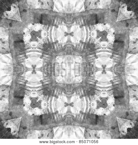 art nouveau ornamental vintage  pattern, S.11, monochrome watercolor background in white, grey and black colors