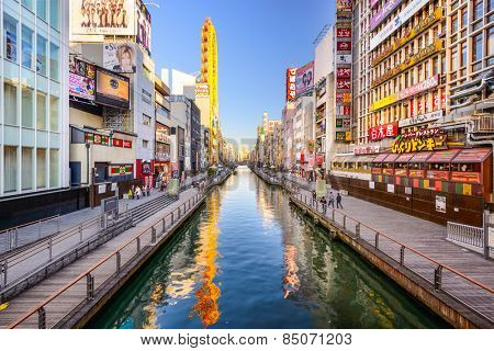 OSAKA, JAPAN - NOVEMBER 25, 2012: The famed advertisements of Dotonbori Canal.