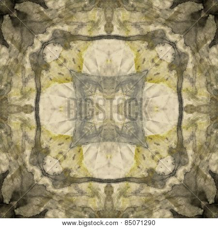 art nouveau ornamental vintage  pattern, S.9, monochrome watercolor background in pastel beige, gold olive, black and grey colors