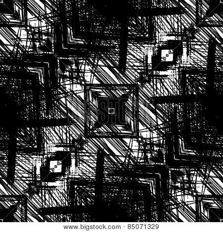 art sketched naive ornamental black pattern isolated on white background, s.12