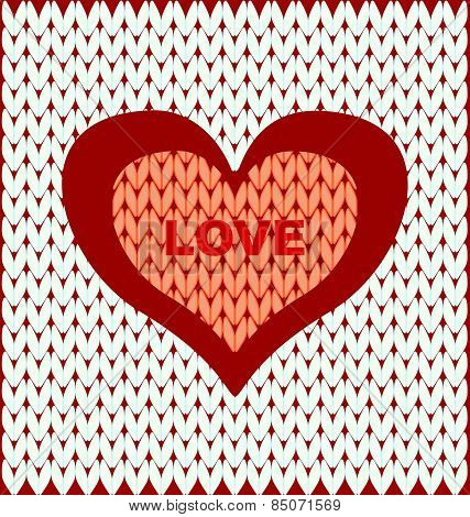 Abstract Two Hearts On A Light Knitted Background