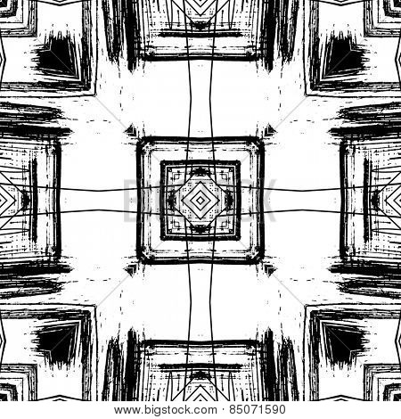 art sketched naive ornamental black pattern isolated on white background, s.11