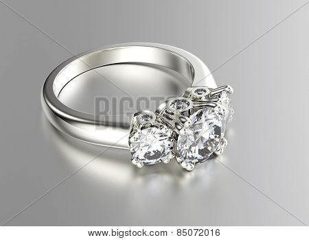 Golden Ring with Diamond. Jewelry background. Valentine day