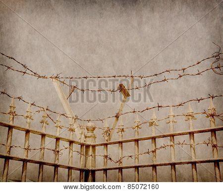 grunge barbed wire frame background texture