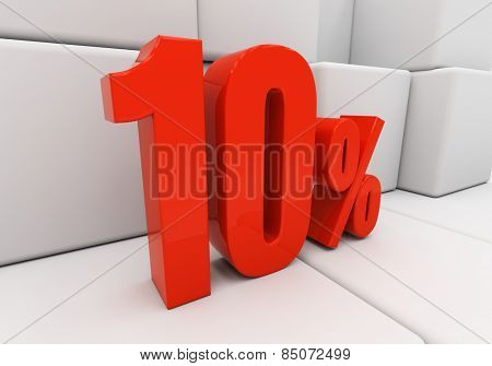 Red ten percent off. Discount 10. 3D illustration