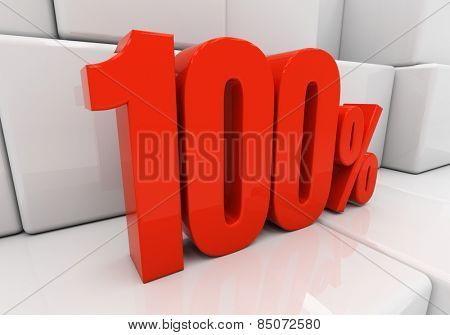 100 percent off. Discount 100. 3D illustration