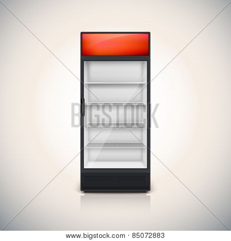 Fridge with glass door.