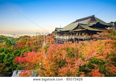 Kyoto, Japan at Kiyomizu-dera shrine in the autumn season.