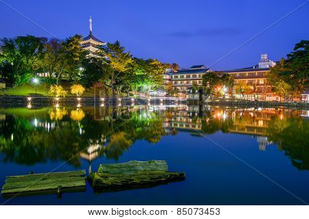 Nara, Japan old town skyline.